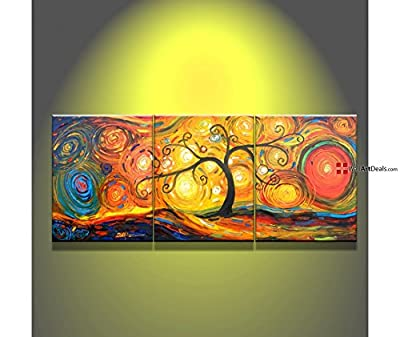 Modern Framed Multi Color 3 Panel Oil Painting Sets Wall Art 3 Piece