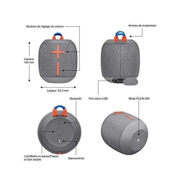 ULTIMATE EARS WONDERBOOM 2, Enceinte Portable Bluetooth Sans Fil, Son à 360 Degrés avec Basses Puissantes, Étanche / Anti-Poussière IP67, Capacité à Flotter, Portée de 30 Mètres - Crushed Ice Grey 6