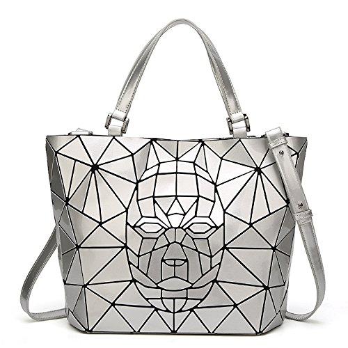 Shlbag à Couture mode main Pack géométrique à Sacs Simple Décontracté de la pour Couture Personnalité Argent Sac main femme BBr45q