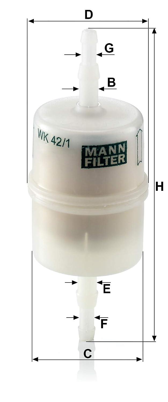 Amarillo MANN-FILTER WK 42//1 Para Para autom/óviles 36
