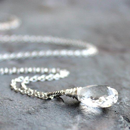 Quartz Crystal Necklace Sterling Silver Faceted Clear Gemstone Briolette Pendant 20 Inch Length -