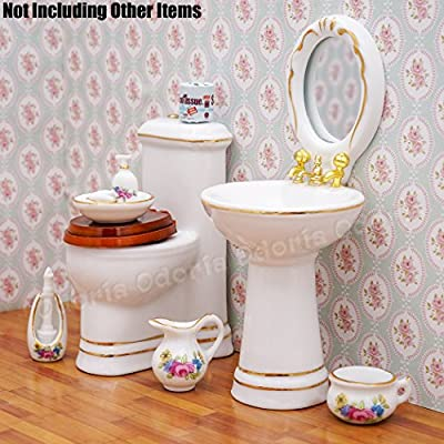 Odoria 1:12 Miniature Bathroom Kit 7PCS Soap Dispenser Shampoo Set Porcelain Dollhouse Accessories: Toys & Games