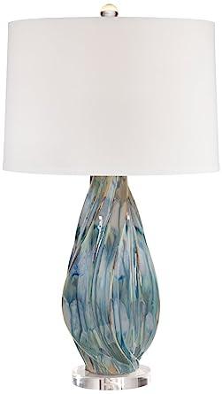 Teresa Teal Drip Modern Ceramic Table Lamp Amazon Com