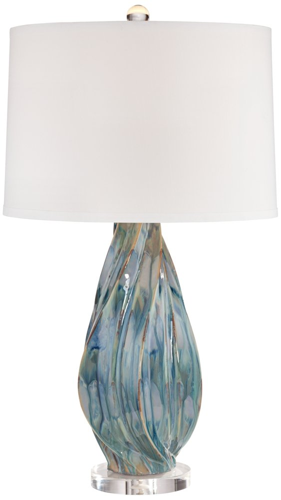 "Teresa Modern Table Lamp Ceramic Hand Painted Teal Drip Beige Fabric Drum Shade for Living Room Family Bedroom Office - Possini Euro Design - 31"" high overall. Base is 6 1/2"" wide x 1"" high. Shade is 15"" across the top x 16"" across the bottom x 11"" high. Weighs 7.8 lbs. Uses one maximum 150 watt standard-medium base bulb (not included). On-off switch on socket. Contemporary ceramic table lamp by the Possini Euro Design® brand. - lamps, bedroom-decor, bedroom - 51DiKXKTLLL -"