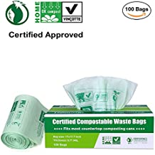 Primode 100% Compostable Bags, 3 Gallon Food Scraps Yard Waste Bags, Extra Thick 0.71 Mil. ASTMD6400 Biodegradable Compost Bags Small Kitchen Trash Bags, Certified By BPI And VINCOTTE, (100)