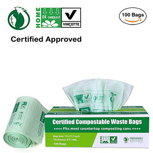 Primode 100% Compostable Bags, 3 Gallon Food Scraps Yard Waste Bags, Extra Thick 0.71 Mil. ASTMD6400 Biodegradable Compost Bags Small Kitchen Trash Bags, Certified By BPI And VINCOTTE, (100) (Biodegradable Kitchen Trash Bags)