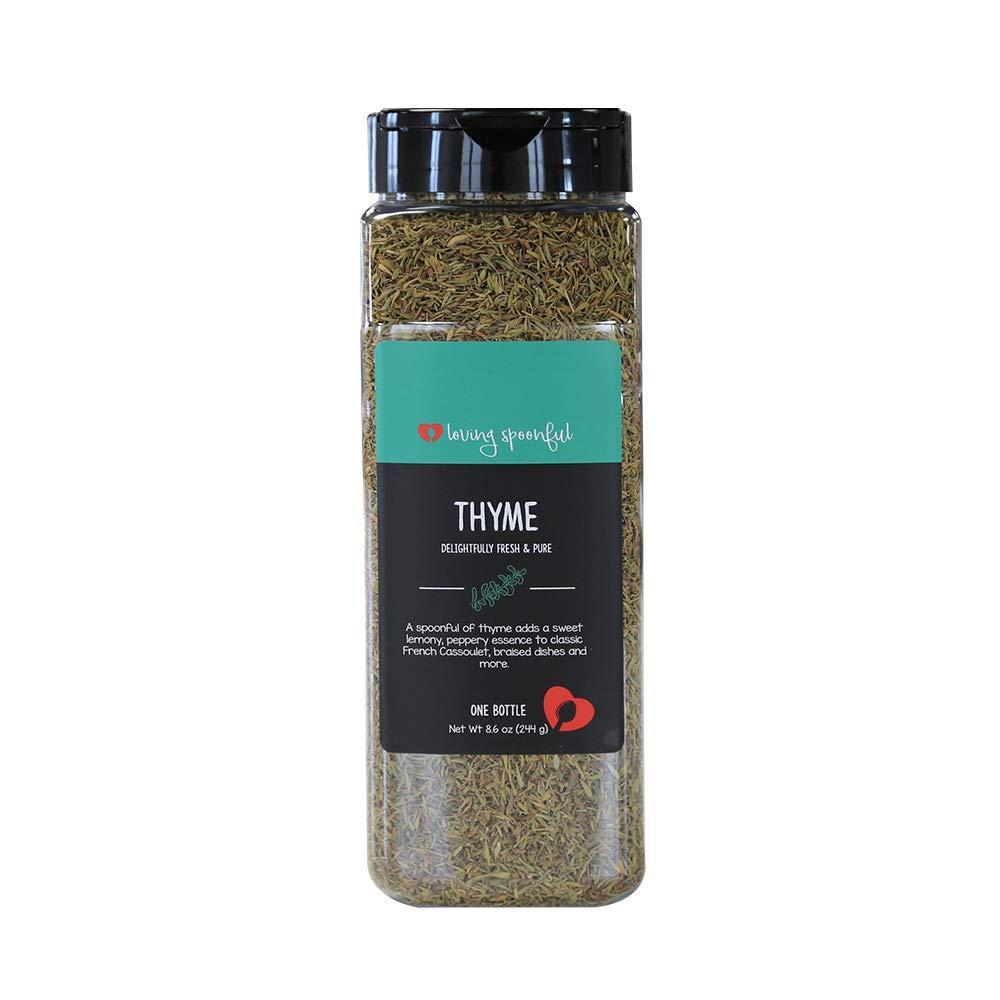 Loving Spoonful 8.6oz (244g) Premium Thyme Leaves | Food Service Bulk Size (Bottle)