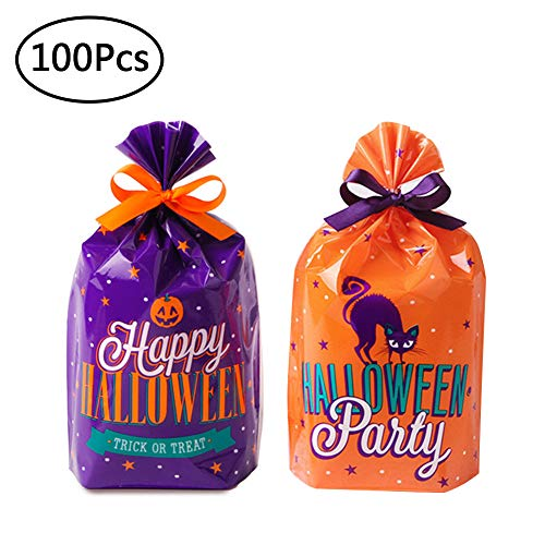 Halloween Treat Bags Trick or Treat Goody Bags Cartoon Candy Biscuits Bag Flat Food Safe Bags for Halloween Party Pack of 100 - Flat Cartoon Bags
