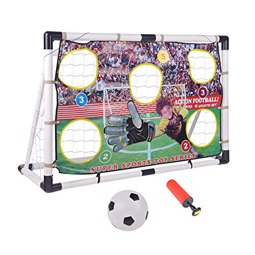 Portzon Portable Soccer Goal Set 47 X 31inch, Includes Target Shot Net with 5 Shooting Zones, Soccer Ball, Inflatable Pump for Indoor Outdoor Training Practice