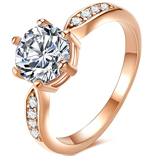 ess Steel 2.0 Carat Wedding Engagement Solitaire Ring Valentine Propose Anniversary (Rose Gold, 5) ()
