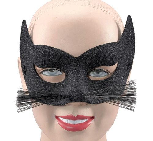Costumes Cat Whiskers (Glitter Black Cat & Whiskers Mask - Accessory)