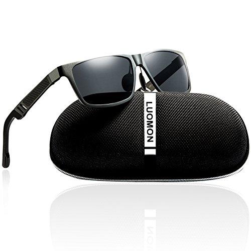 LUOMON Men's Polarized Wayfarer Sunglasses Al-Mg Aloy Grey Frame/Grey Rectangular Lens Unbreakable Frame - Luomon Sunglasses