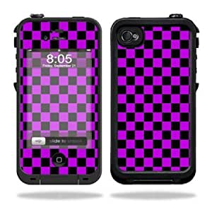 Protective Vinyl Skin Decal Cover for LifeProof iPhone 4 / 4S Case Sticker Skins Purple Check
