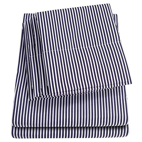 Cal King Size Bed Sheets - 6 Piece 1500 Thread Count Fine Brushed Microfiber Deep Pocket California King Sheet Set Bedding - 2 Extra Pillow Cases, Great Value, California King, Classic Stripe Navy ()