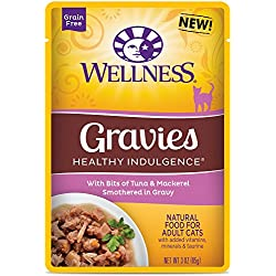 Wellness Healthy Indulgence Natural Grain Free Wet Cat Food, Gravies Tuna & Mackerel, 3-Ounce Pouch (Pack of 24)