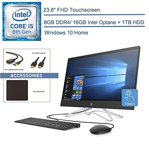 2020 HP 24 All in One 23.8″ FHD Touchscreen AIO Desktop Computer, 8th Gen Intel Hexa-Core i5-8400T up to 3.3GHz, 8GB DDR4 RAM, 1TB HDD + 16GB Optane, DVDRW, AC WiFi, Windows 10, YZAKKA Accessories