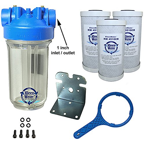 KleenWater Premier Chlorine Whole House Water Filter System - 1 Inch Inlet/Exit - Transparent Housing - 4 GPM with Bracket, Wrench and Three Carbon Block Cartridges