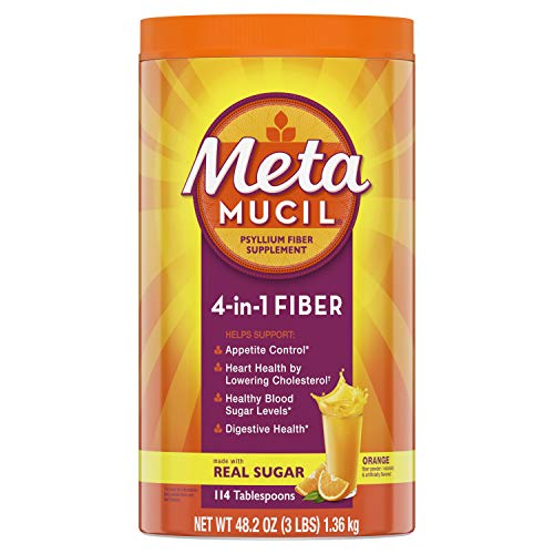 Metamucil Fiber, 4-in-1 Psyllium Fiber Supplement Powder with Real Sugar, Orange Smooth Flavored Drink, 114 Servings (Packaging May Vary) (What's The Best Probiotic On The Market)