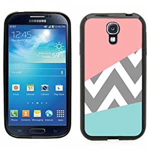 Samsung Galaxy S4 SIIII Black Rubber Silicone Case - Pink and Baby Blue Design with grey Chevron Pattern Cute