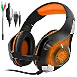 Gaming Headset for PlayStation4 PS4 New Xbox one PC Laptop MAC Cellphone, AFUNTA GM-1 Stereo LED Backlit Gaming Headphone with Mic-Orange
