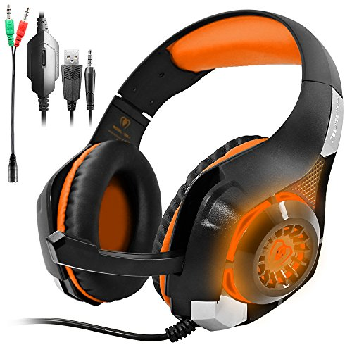 GM-1 New Xbox One s PS4 Pro Headphones Compatible PC Tablet Cellphone,AFUNTA Stereo LED Backlit Gaming Headset with Mic & Retail Box - ()