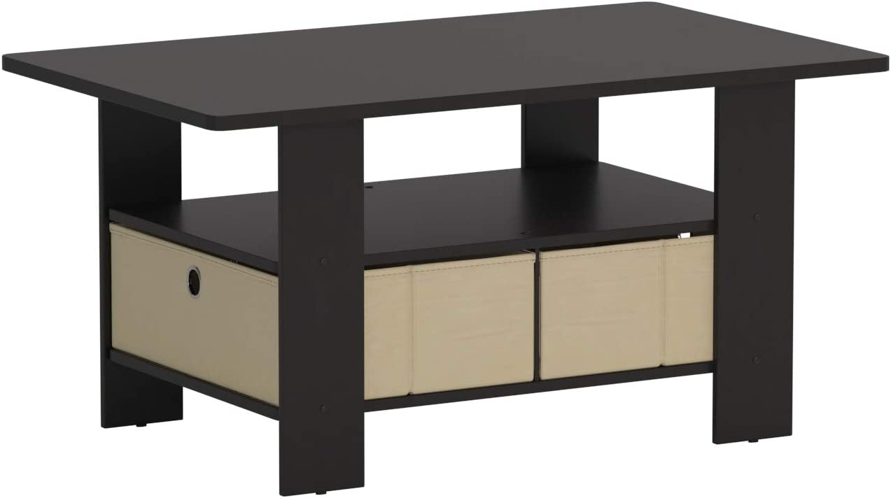 Furinno Coffee Table with Bins, Espresso/Brown: Kitchen & Dining