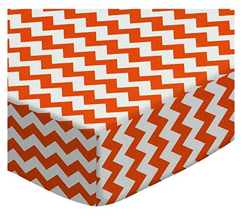 SheetWorld Fitted Cradle Sheet - Orange Chevron Zigzag - Made In USA