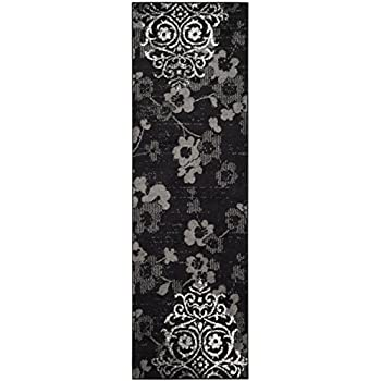 "Safavieh ADR114A-210 Adirondack Collection ADR114A Contemporary Chic Damask Runner, 26"" x 10, Black/Silver"