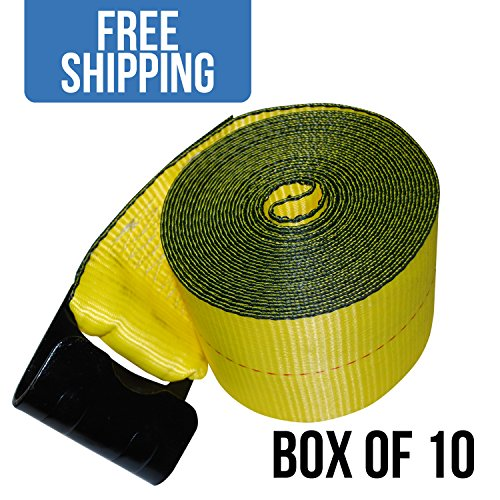 "Shippers Supplies 4"" x 30' Winch Strap with Flat Hook — 10 PACK by Shippers Supplies"