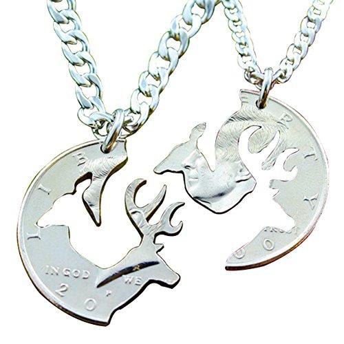SENFAI Stag and Doe Buck Initial Necklace Half Dollar Interlocking Set Pendant Necklaces, 18