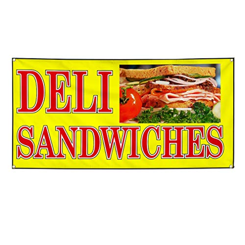 Vinyl Banner Sign Deli Sandwiches Yellow Red Sandwiches Marketing Advertising Yellow - 24inx48in (Multiple Sizes Available), 4 Grommets, Set of 5