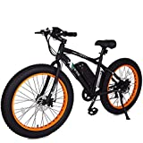 ECOTRIC Fat Tire Electric Bike Beach Snow Bicycle 4.0 inch Fat Tire ebike 500W Electric Mountain Bicycle with Shimano 7 Speeds Black/Orange Lithium Battery Electric Mountain Bicycle …