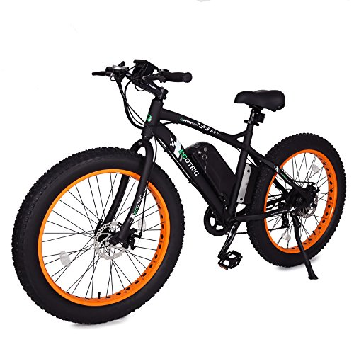 ECOTRIC Fat Tire Electric Bike Beach Snow Bicycle 4.0 inch Fat Tire ebike 500W Electric Mountain Bicycle with Shimano 7 Speeds Black/Orange Lithium Battery Electric Mountain Bicycle … (Orange)