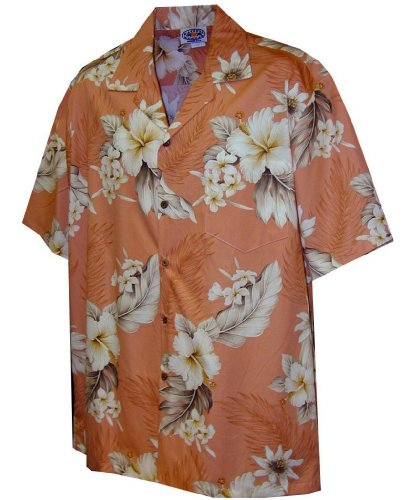 Pacific Legend Tropical Floral Hibiscus and Plumeria Hawaiian Shirt (3X, Peach)