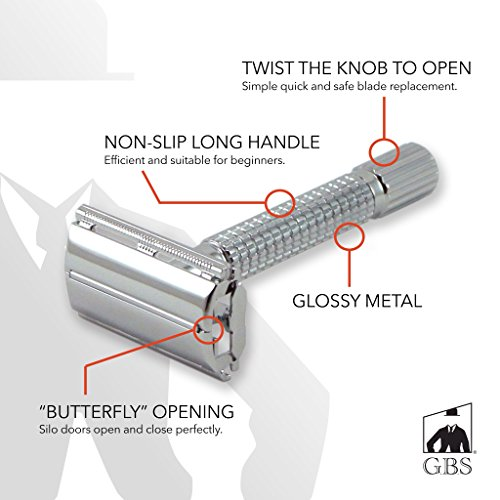 GBS Shaving Safety Razor Double Edge Blade Butterfly Twist Open Technology for Easy Blade Replacement - Polished Chrome Textured Handle Includes Protective Travel Case & 10 Safety Blades - Deluxe Kit