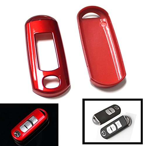 iJDMTOY (1) Exact Fit Gloss Metallic Red Smart Remote Key Fob Shell For Mazda 2 3 5 6 CX-3 CX-5 CX-7 CX-9 MX-5 (Fit Keyless Fob ONLY, not Flip Key)