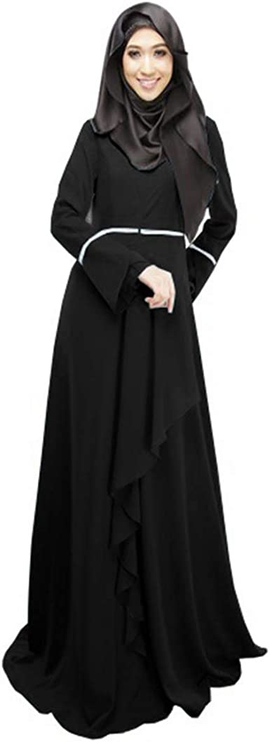 Domple Womens Arabic Solid Modal Muslim Long Sleeve Crewneck Dress