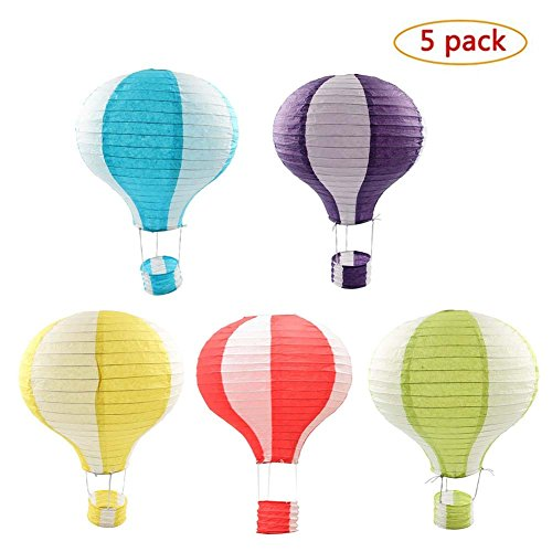 Party Supplies - Set of 5 Lot Hot Air Balloon Paper Lantern Decoration Pom Poms Pompoms Decoration Christmas Wedding Birthday Party Nursery Decoration Parties Favor Party Decor (12inch, (Hot Air Balloon Baby Shower Favors)
