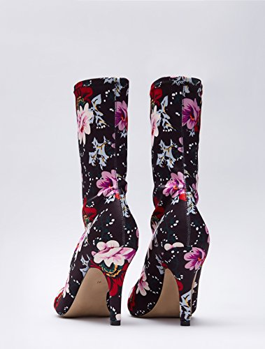 Multicolour Stretch Boot Print FIND 06 Women's Pull on Ankle Floral PaqYtqx