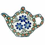 Polish Pottery Teapot Teabag Holder Boleslawiec Poland Traditional Traditional Pattern 766- Vintage Trellis