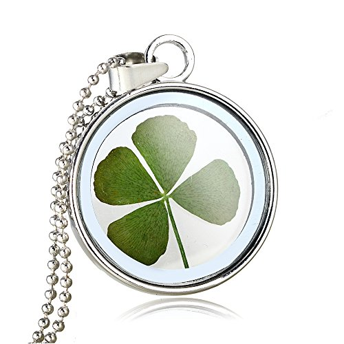 FM FM42 Silver-Tone Dried Leaves Lucky 4-Leaf Clover Round Glass Locket Pendant Necklace FN3059