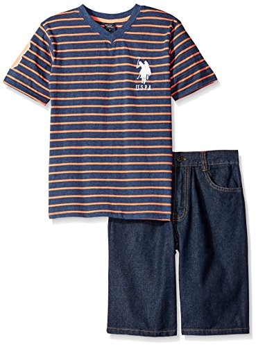 U.S. Polo Assn. Baby Boys' Striped V-Neck T-Shirt and Denim Short Set, Neon Coral, 3-6 Months (V Baby T-shirt)
