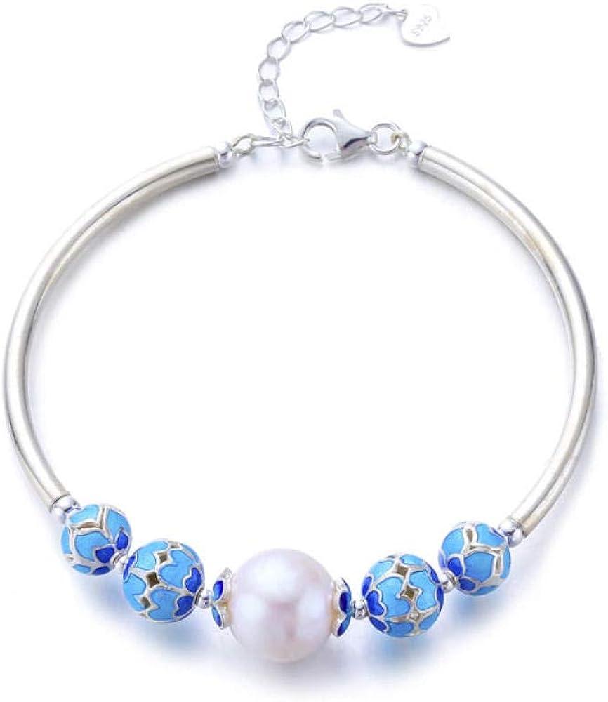 wanghuiminwje 925 Pulsera de Plata esterlina con Perlas para Mujer antifatiga Perla 12 mm