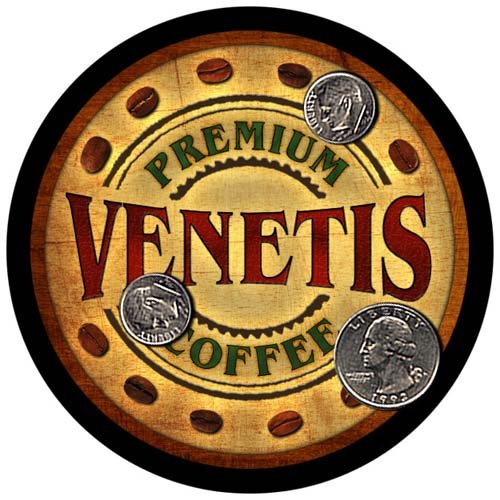 Venetis Family Name Coffee Rubber Drink Coasters - 4 pcs