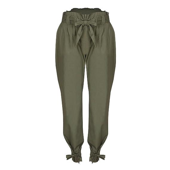 Wenyujh  Damen Hose Freizeithose Schleife High Waist mit Gürtel Tasche Streetwear  Skinny Hose Strumpfhose Lang 4765e333ae