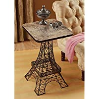 Design Toscano Tour Eiffel Sculptural Metal Side Table, Black