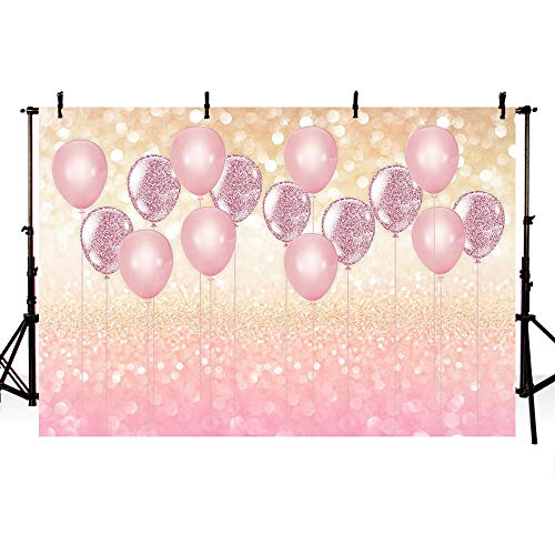 MEHOFOTO Pink Balloons Bokeh Girl Birthday Photography Backdrop Princess Baby Shower Rose Gold Party Decorations Background Photo Studio Props Banner 7x5ft