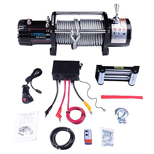 LUJUNTEC 12V 4500LB SElectric Winch Towing Truck Winches with Steel Rope,Clevis Hook,Aluminum Fairlead,Control Box,Wireless Remote Control,Switch Assembly,Negative/Positive Wire,Bolts,for Jeep Ford