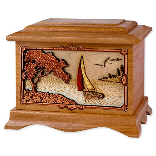 Wooden Seacoast Cremation Urn - Ambassador Shape with Soft Breezes Ocean Sailing Scene 3-Dimensional Inlay Wood Art Memorial - Funeral Urns for Adults (Mahogany Wood)