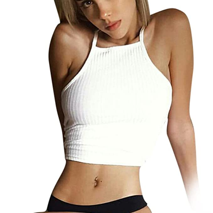 Showking Women Sleeveless Crop Tops Vest Backless Halter Camisole Tank Tops Blouse T-Shirt at Amazon Womens Clothing store: